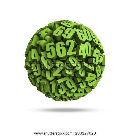 Numbers sphere - stock photo