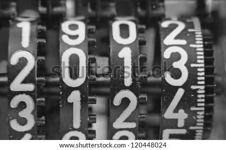 numbers with a mechanical counter the coming year - stock photo