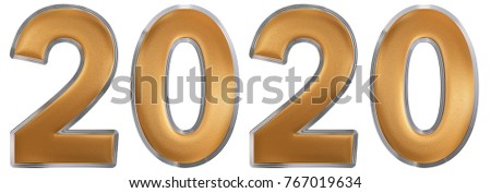 Numeral 2020, isolated on white background, 3d render