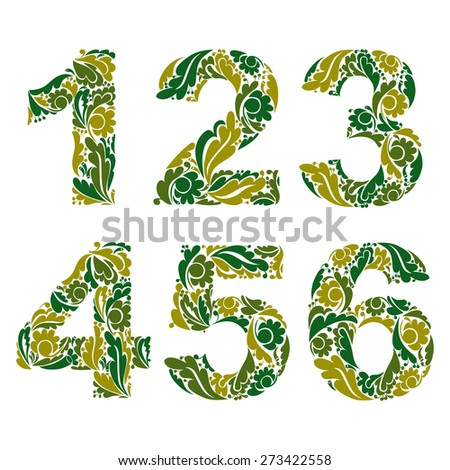numeration decorated with seasonal green leaves, 1, 2, 3, 4, 5, 6. Vintage ornamental numbers. - stock photo