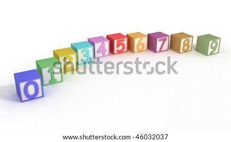 Numeric Baby Blocks 3d isolated on white