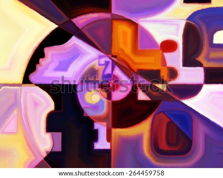 Numeric Color series. Backdrop of numbers, colors and shape on the subject of math, science, education and art - stock photo
