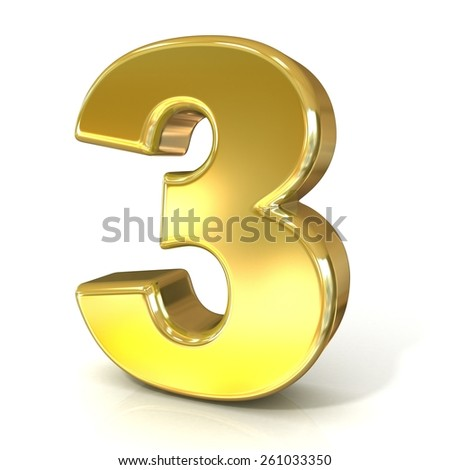 Numerical digits collection, 3 - THREE. 3D golden sign isolated on white background. Render illustration. - stock photo