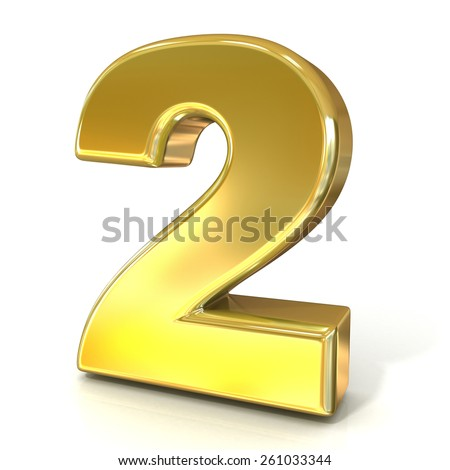 Numerical digits collection, 2 - TWO. 3D golden sign isolated on white background. Render illustration. - stock photo