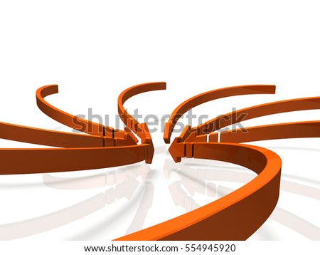 Numerous arrows flowing into the center. 3D illustration