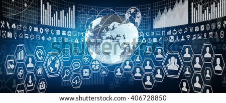 Numerous charts, screens and graphics background interface - stock photo