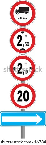 Numerous constraints in road traffic announced by a series of signals - stock photo