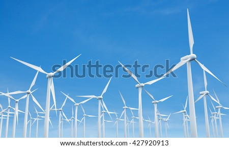 Numerous wind mills on blue clear sky background. 3D Rendering