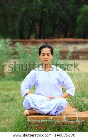 Nuns meditation - stock photo