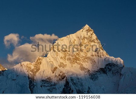 Nuptse (7864 m) at sunset (view from Kala Patthar) - Everest region, Nepal