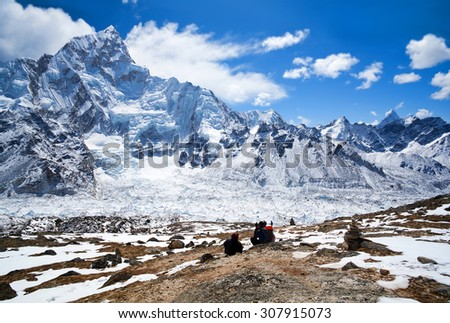 Nuptse mount view and mountain landscape in Sagarmatha National Park, Nepal Himalaya