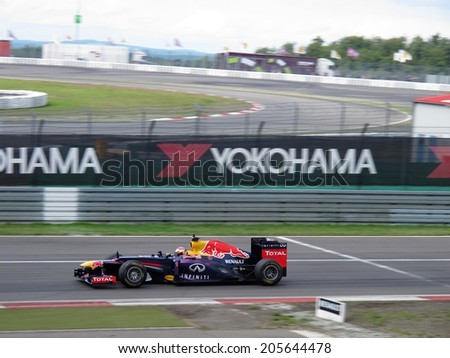 NURBURG, GERMANY - JULY 13, 2014: Swiss racing driver Sebastien Buemi driving the Red Bull Formula 1 car during the World Series by Renault event on July 13, 2014 at Nurburg, Germany.  - stock photo