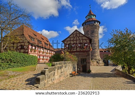 Nuremberg Castle (Sinwell tower) with blue sky and clouds, Germany