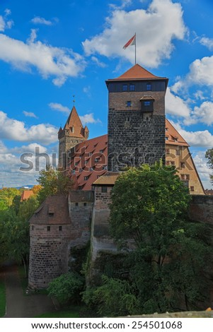 Nuremberg Castle with blue sky and trees  - stock photo