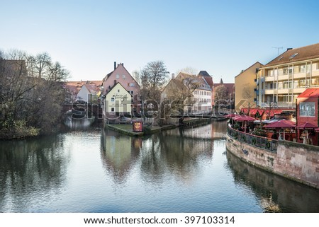 NUREMBERG - DECEMBER 8, 2016: Nuremberg, Germany, old town on the Pegnitz River. - stock photo