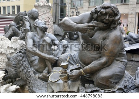 NUREMBERG, GERMANY - APRIL 10, 2016. Element of Ehekarussell (Marriage Carousel) Brunnen fountain in Nuremberg, depicting one of interpretations of marriage.