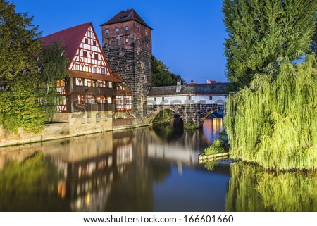 Nuremberg, Germany at Executioner's Bridge.  - stock photo