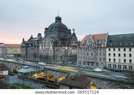 Nuremberg, Germany -Dec. 21, 2015: Image of opera of Nuremberg at a raining day in the morning. - stock photo