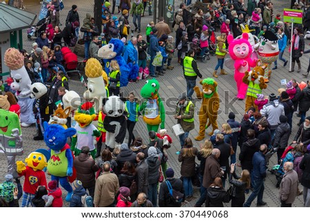 NUREMBERG, GERMANY-JANUARY 30, 2016: Toon Walk- mascots parade- during  International Toy Fair (Nuremberg Messe). Colorful, film, comics, cartoon characters walk through the downtown Nuremberg.