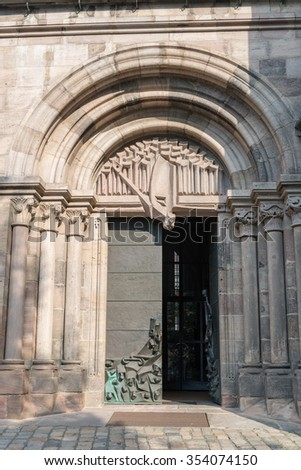 NUREMBERG, GERMANY - September 10, 2015: Main entrance into St. Sebald's Church