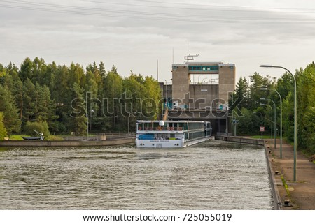 NUREMBERG, GERMANY - SEPTEMBER 7, 2017: The Amadeus Princess river cruise ship enters the Eibach lock on the Rhine-Main-Danube canal. This lock has a height difference of 64 feet (19.5 m).