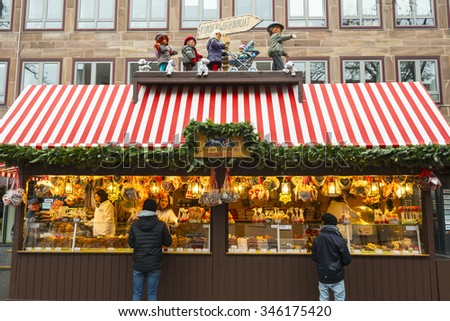 NUREMBERG - NOV 29: Childrens Christmas Market on November 29, 2015 in Nuremberg, Germany  - stock photo