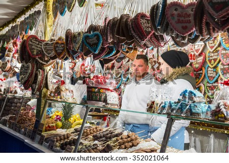 NUREMBERG - NOV 29: Christmas Market at Nuremberg Hauptmarkt on November 29, 2015 in Nuremberg, Germany - stock photo