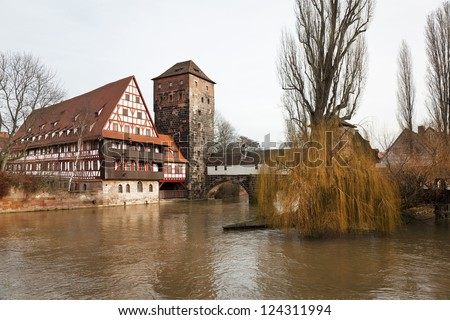 Nuremberg. The urban landscape with the river Pegnitz.