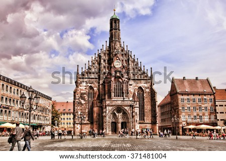 NURNBERG, GERMANY - JULY 13 2014: Hauptmarkt, the central square of Nuremberg, Bavaria, Germany.  Nuremberg accommodates annually more than 2 millions tourists