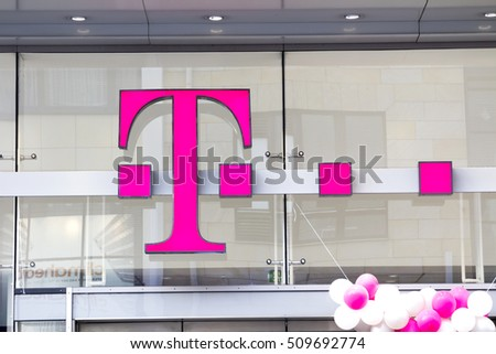 NURNBERG,GERMANY- November 1, 2016: Emblem T-Mobile. T-Mobile International AG is a holding company for Deutsche Telekom AG's various mobile communications subsidiaries outside Germany