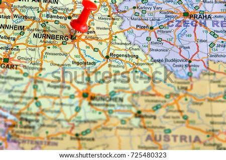 Nurnberg Pinned On Map Germany Stock Photo 725480323 Shutterstock
