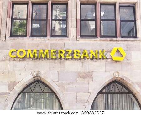 Nurnberg - Sep 19: Commerzbank is a German global banking and financial services company. It is the second-largest German bank. September 19, 2015, Nurnberg, Germany