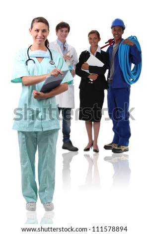 Nurse and other professions - stock photo