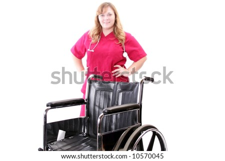 Nurse blurred in the background of a wheelchair photo, - stock photo