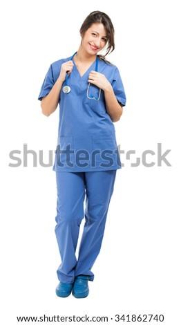Nurse full length portrait - stock photo