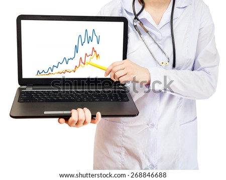 nurse holds computer laptop with charts on screen isolated on white background - stock photo