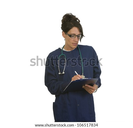 Nurse in scrubs writing notes. Isolated on white background with copy space - stock photo