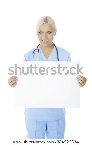 Nurse is holding an empty paper to write a message . Isolated on white background. - stock photo