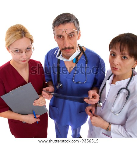 nurse, male and female doctors with the schedule list.