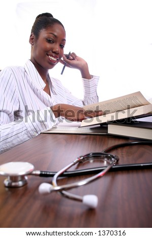Nurse or Student Studying African American Woman - stock photo