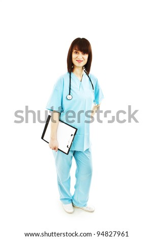 Nurse or young doctor standing smiling isolated on white background in full body. - stock photo