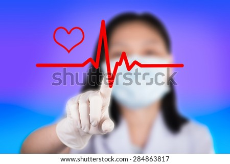 Nurse pressing cardiogram show technology of medical
