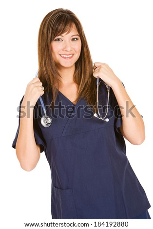 Nurse: Smiling Asian-American Nurse In Scrubs - stock photo