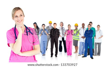 Nurse standing in front of different types of workers on white background