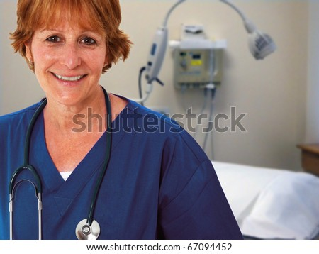 Nurse Standing In Patient's Room - stock photo