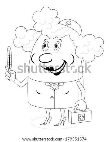 Nurse, woman doctor, cartoon character in uniform with first-aid kit and thermometer, black contour on white background.