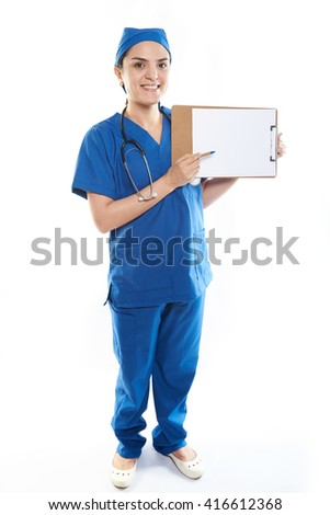Nurse young woman with paper clip board isolated
