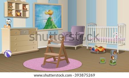 Nursery Room Background Stock Illustration 393875269
