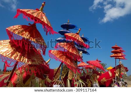 NUSA PENIDA, PROV. BALI, INDONESIA - AUGUST 23.2015:,Hindu funeral, August 23. 2015  Sebuluh,Nusa Penida provinz. Bali, Indonesia  - stock photo