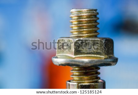 nut and bolt close up - stock photo